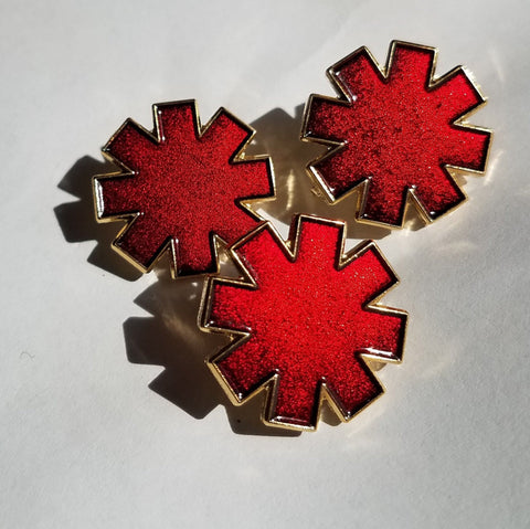 "Packs of the ""Asterisk"" in Red Translucent Enamel 