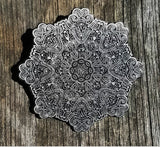 "Whitaker's ""Blooming Lotus"" Raw Antiq. Silver Edition Only 50 Made 2"" Mandala Hat Pin - The Mad Genius Store"