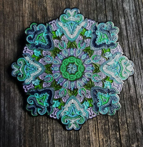 "Pins - Whitaker's ""Blooming Lotus V2"" Color Edition Only 100 Made 2"" Mandala Hat Pin"