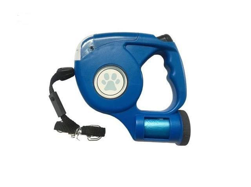 3 in 1 Dog Leash Automatic Retractable - LED Light & Bags Collars and Leads Oberlo Blue