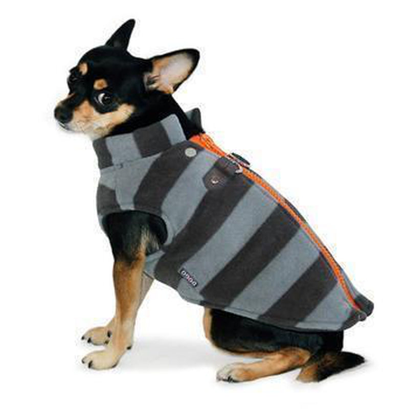 Active Fleece D-Ring Striped Dog Coat by Dogo - Gray, Pet Clothes, Furbabeez, [tag]