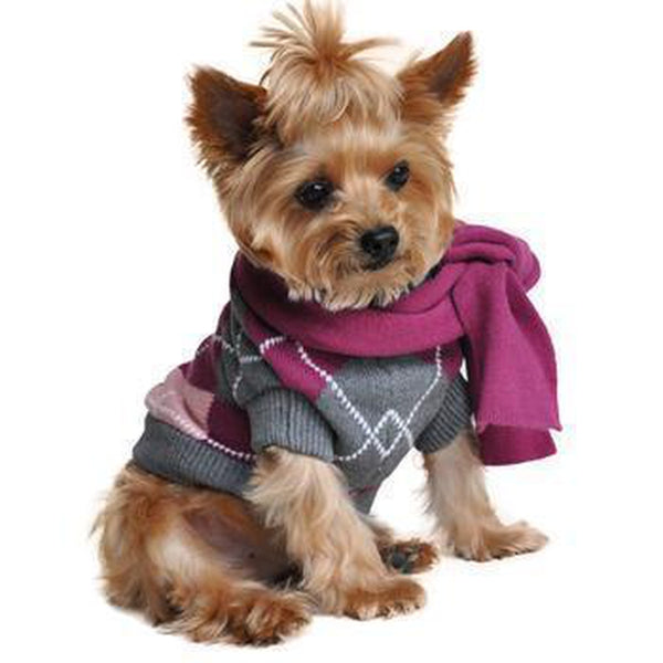 Argyle Purple Dog Sweater with Scarf, Pet Clothes, Furbabeez, [tag]