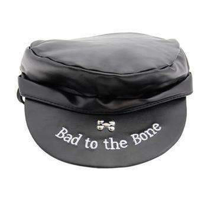 Bad to the Bone Biker Dog Hat - Black with Black Trim, Pet Accessories, Furbabeez, [tag]
