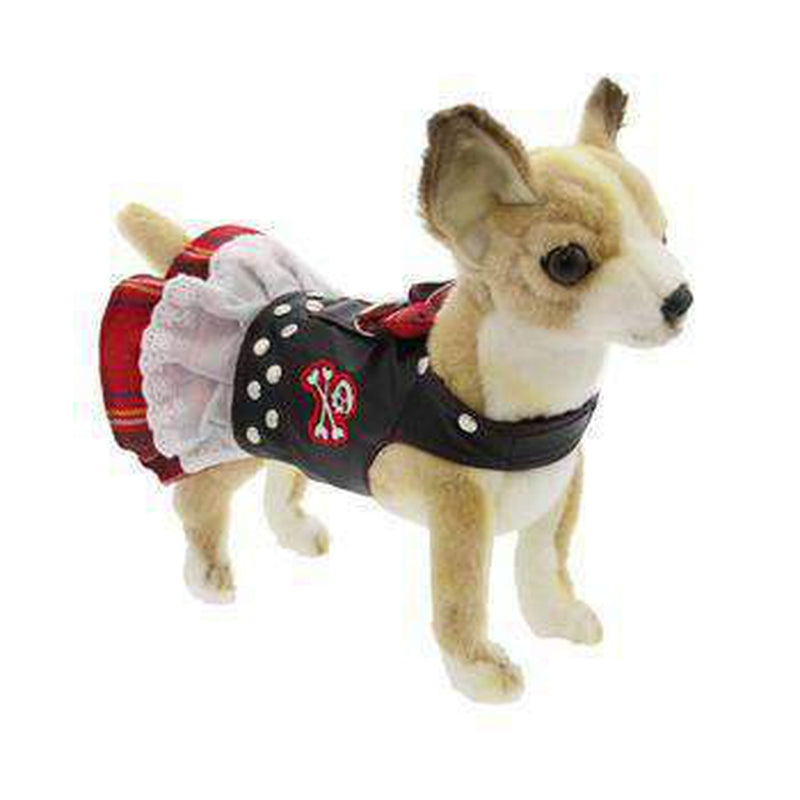 Biker Dress Dog Harness by Doggles - Red Plaid, Collars and Leads, Furbabeez, [tag]