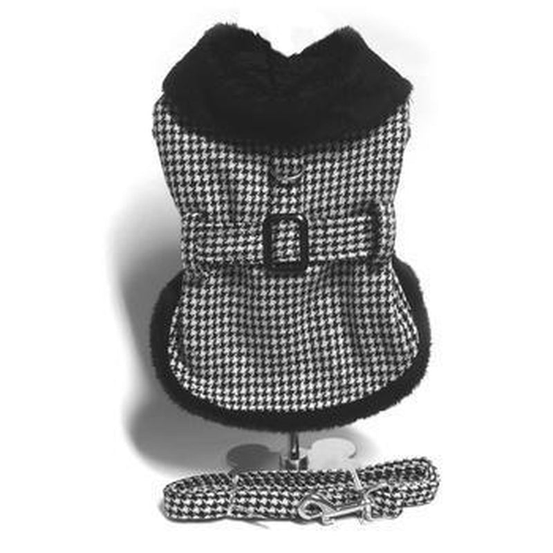 Black and White Classic Houndstooth Dog Harness Coat with Leash, Pet Clothes, Furbabeez, [tag]