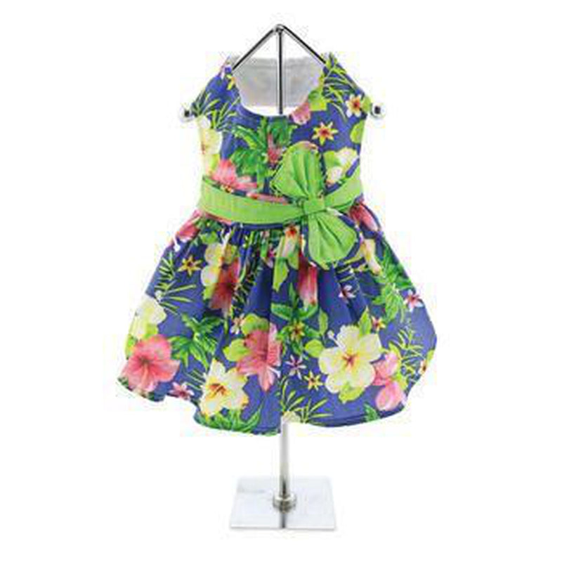 Blue Lagoon Hawaiian Hibiscus Dog Dress with Matching Leash, Pet Clothes, Furbabeez, [tag]