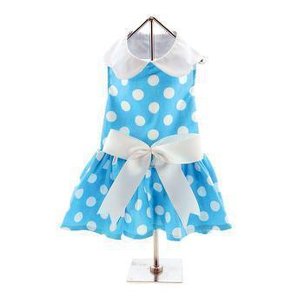 Girl Dot Dog Dress- Blue with Matching Leash, Pet Clothes, Furbabeez, [tag]