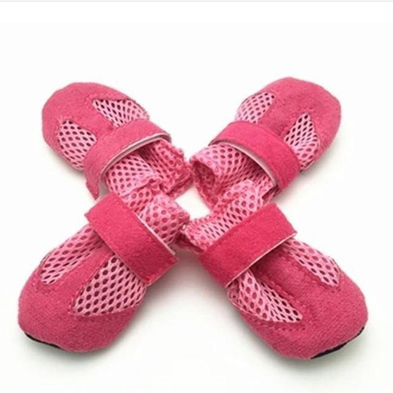 Breathable Mesh Velcro Dog Boots Pet Clothes Oberlo Pink L