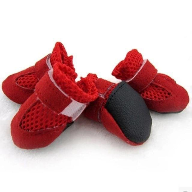Breathable Mesh Velcro Dog Boots Pet Clothes Oberlo Red L