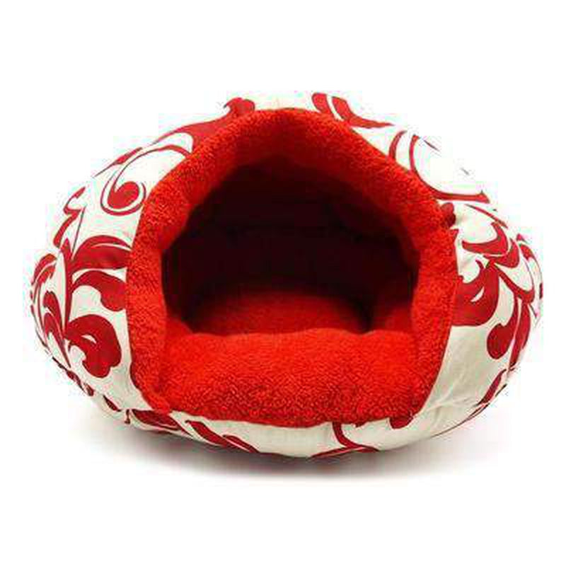 Burger Bed Red Floral, Pet Bed, Furbabeez, [tag]