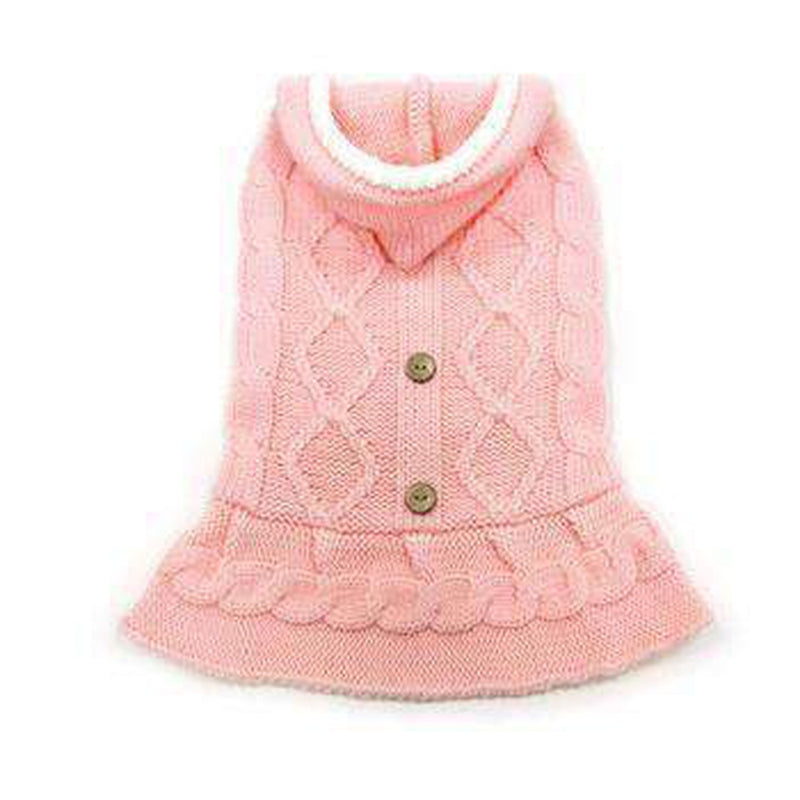 Cable Hoodie Dog Sweater Dress - Pink, Pet Clothes, Furbabeez, [tag]