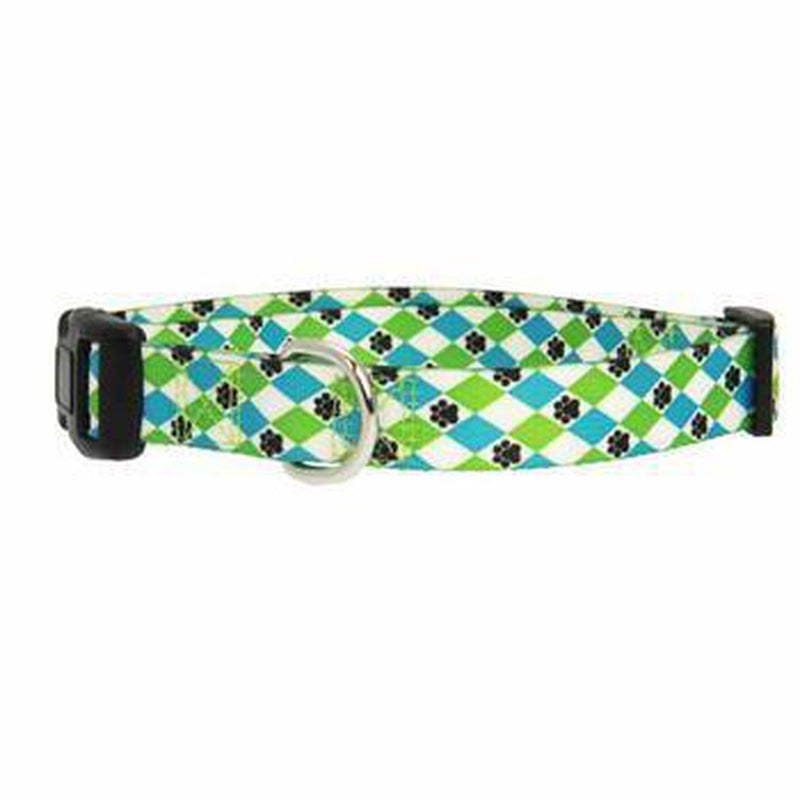 Casual Canine Pooch Pattern Dog Collar - Blue/Green Argyle Collars and Leads Casual Canine
