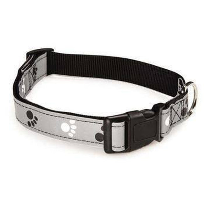 Casual Canine Reflective Pawprint Dog Collar - Gray, Collars and Leads, Furbabeez, [tag]