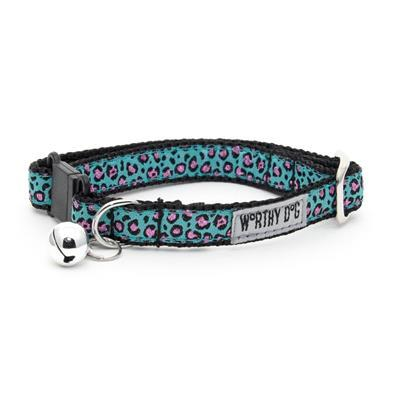 Cat Collar - Cheetah Teal Collars and Leads Worthy Dog
