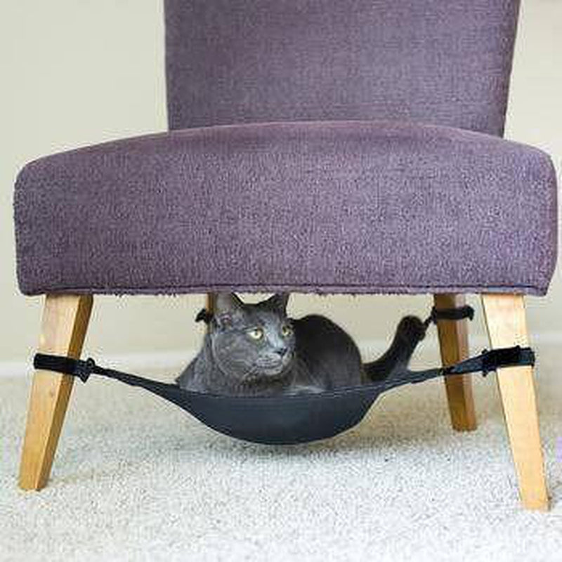 Under Chair Cat Hammock - Black Pet Bed Cat Crib One Size