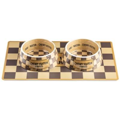 Checkered Chewy Vuitton Dog Placemat Pet Bowls Haute Diggity Dog
