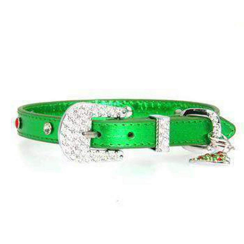 Foxy Metallic Green Christmas Collar w/Christmas Tree Charm by Cha-Cha Couture, Collars and Leads, Furbabeez, [tag]