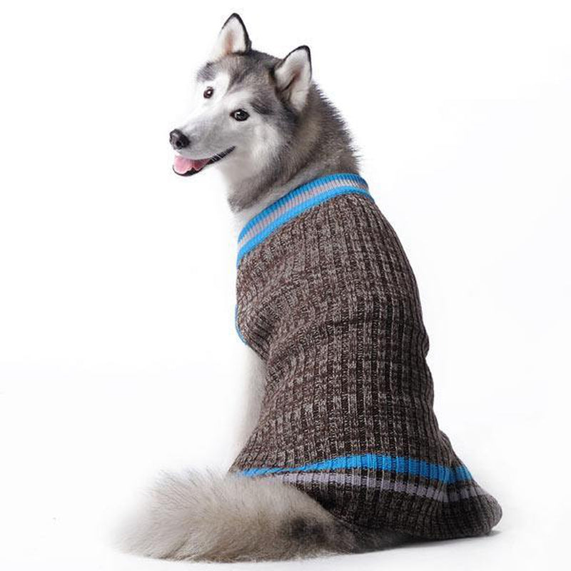 City V-Neck Dog Sweater by Dogo - Brown with Blue Trim, Pet Clothes, Furbabeez, [tag]