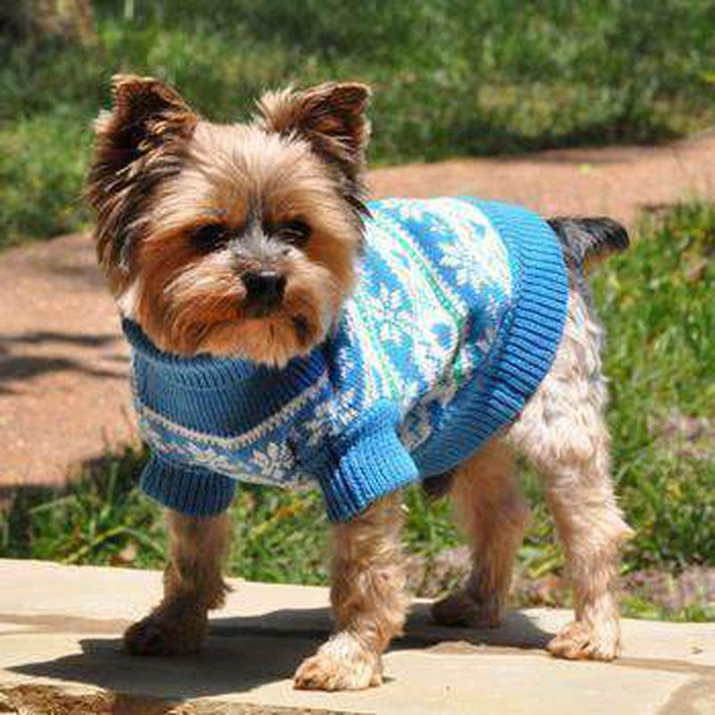 Cotton Snowflake and Hearts Dog Sweater - Blue, Pet Clothes, Furbabeez, [tag]