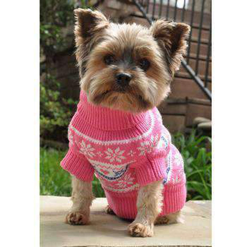 Combed Cotton Snowflake and Hearts Dog Sweater - Pink, Pet Clothes, Furbabeez, [tag]