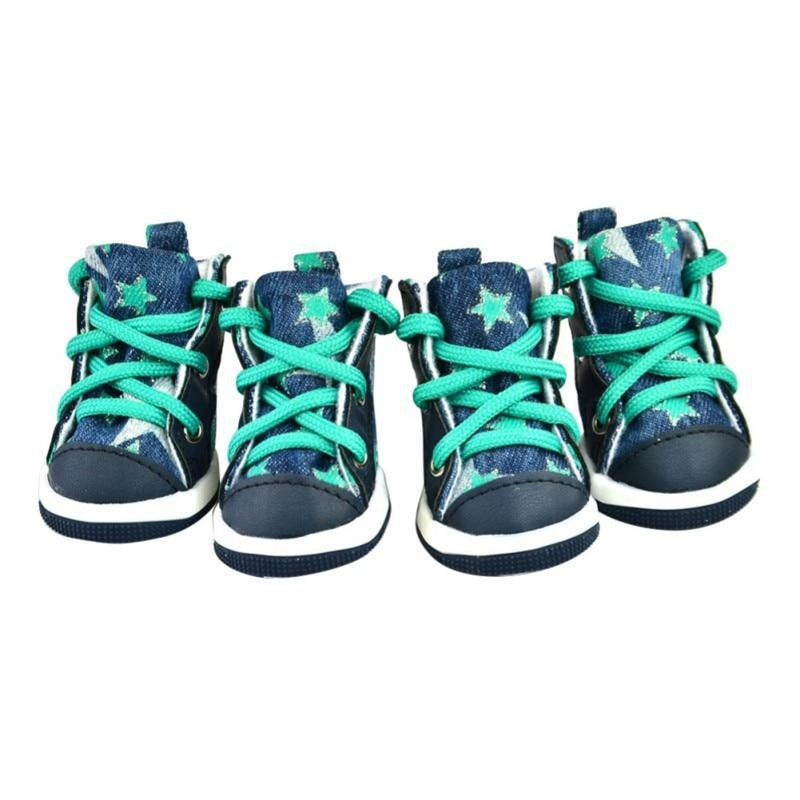 Converse Dog Shoes - Denim and Green Stars, Pet Clothes, Furbabeez, [tag]