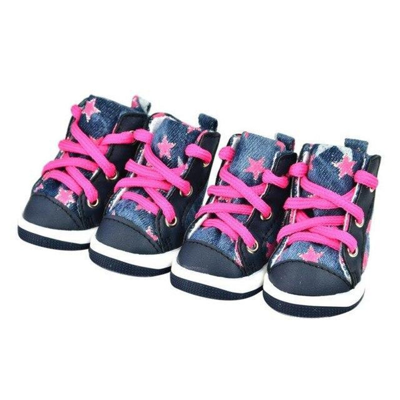 Converse Dog Shoes - Denim and Pink Stars, Pet Clothes, Furbabeez, [tag]