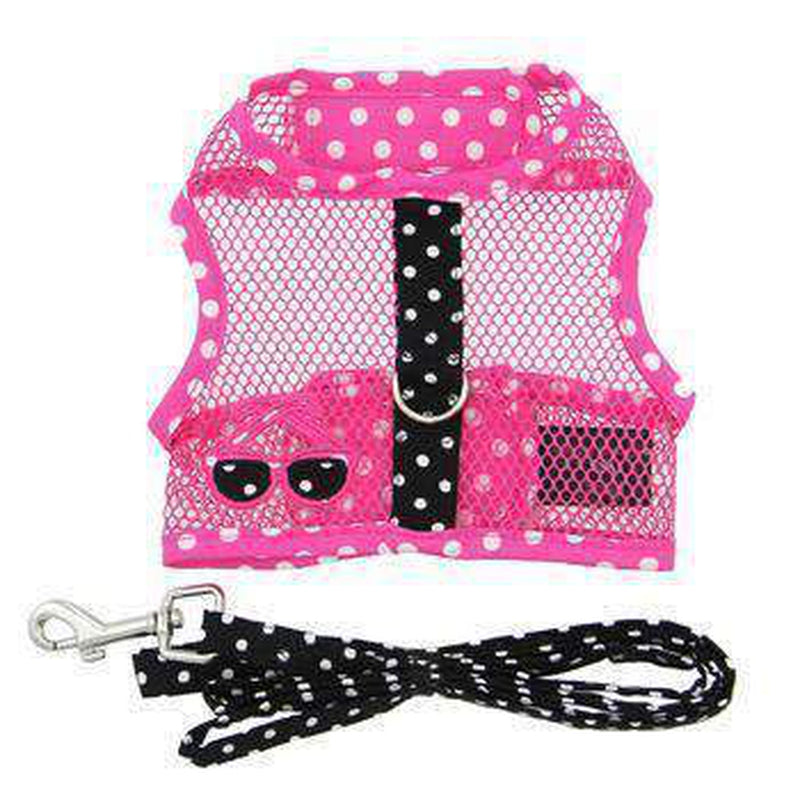 Cool Mesh Dog Harness - Pink and Black Polka Dot Sunglasses, Collars and Leads, Furbabeez, [tag]