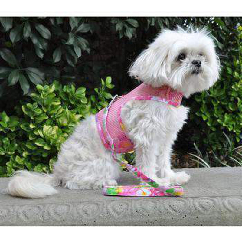 Cool Mesh Dog Harness with Leash - Pink Hawaiian Floral, Collars and Leads, Furbabeez, [tag]