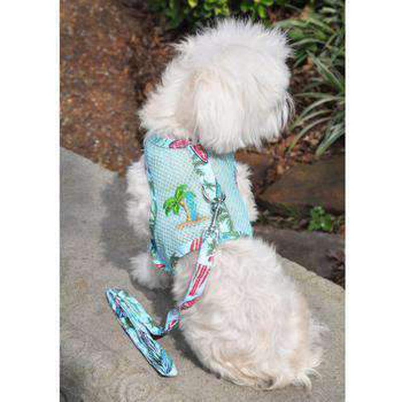 Cool Mesh Dog Harness with Leash - Surfboards and Palms, Collars and Leads, Furbabeez, [tag]