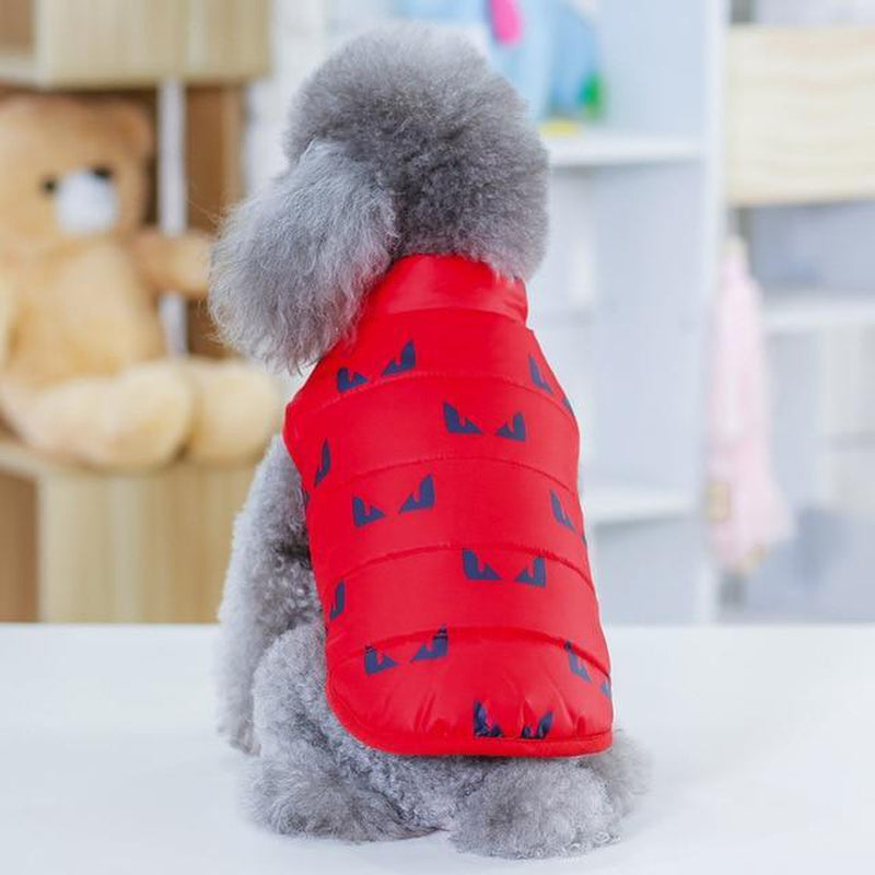 Cool Print Dog Puffer Vest Pet Clothes Oberlo Red S