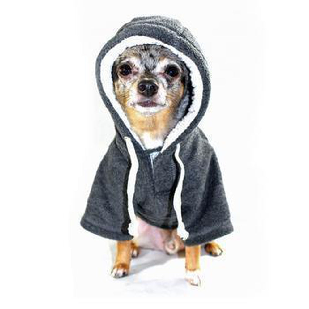 Crest Fleece Dog Hoodie by Hip Doggie - Gray, Pet Clothes, Furbabeez, [tag]