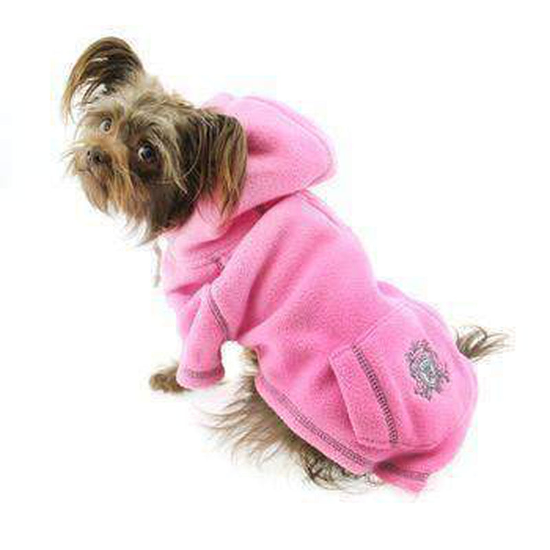 Crest Fleece Dog Hoodie by Hip Doggie - Pink, Pet Clothes, Furbabeez, [tag]