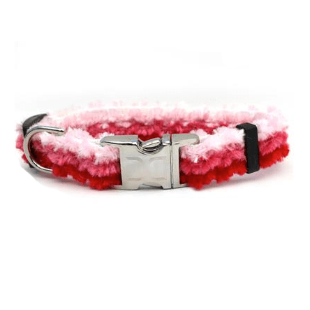Custom Engraved Cabo Cotton Candy Furry Pink Dog Collar Collars and Leads Diva Dog