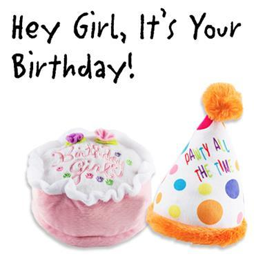 Dog Birthday Cake and Hat Plush Toys Pet Accessories Haute Diggity Dog Pink
