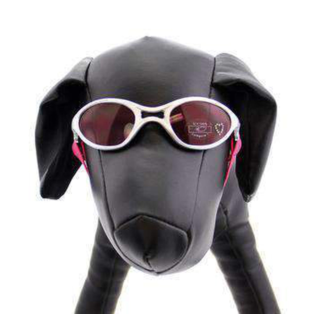 Doggles - K9 Optix Rubber Sunglasses for Dogs - Silver with Pink Lens, Pet Accessories, Furbabeez, [tag]