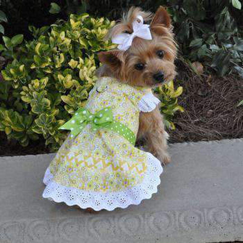 Emily Yellow Floral and Lace Dog Dress with Matching Leash, Pet Clothes, Furbabeez, [tag]