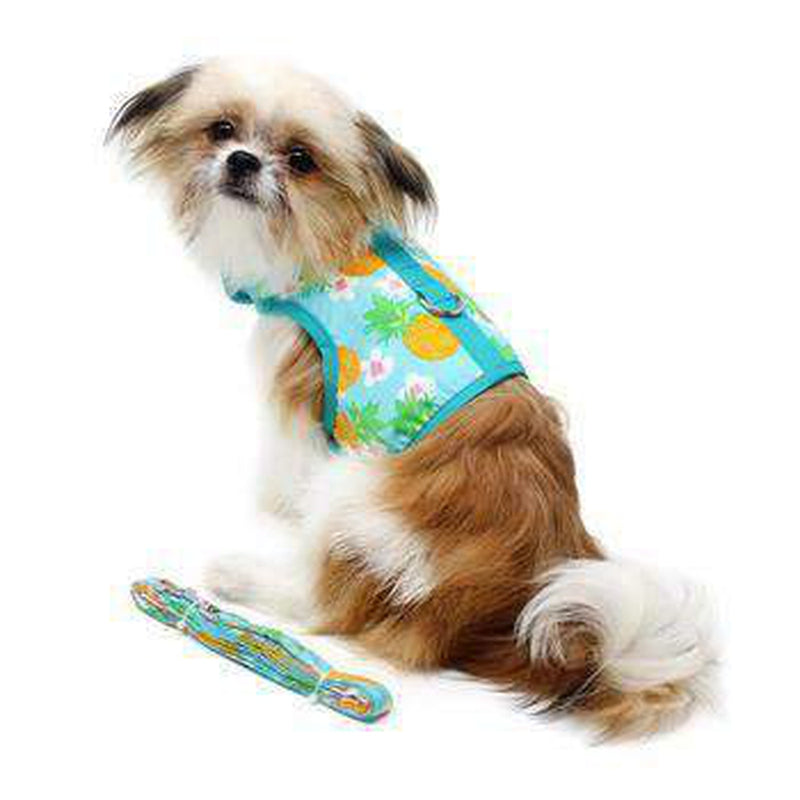 Fabric Dog Harness with Leash - Pineapple Luau, Collars and Leads, Furbabeez, [tag]