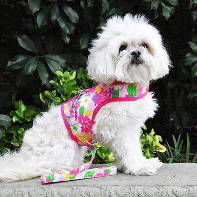 Fabric Dog Harness with Leash - Pink Hawaiian Floral, Collars and Leads, Furbabeez, [tag]