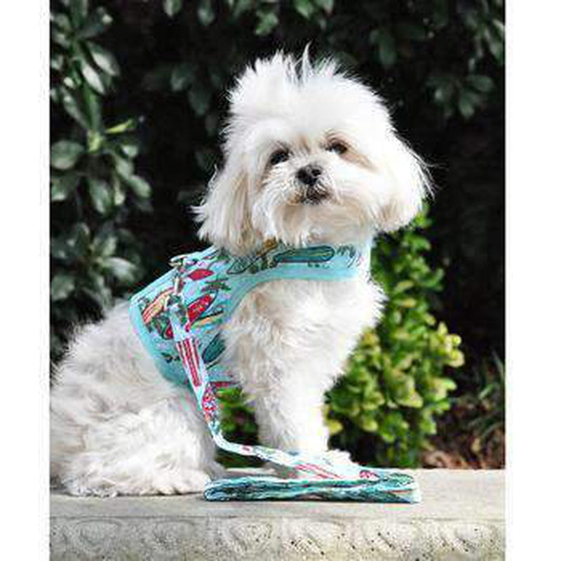 Fabric Dog Harness with Leash - Surfboards and Palms, Collars and Leads, Furbabeez, [tag]