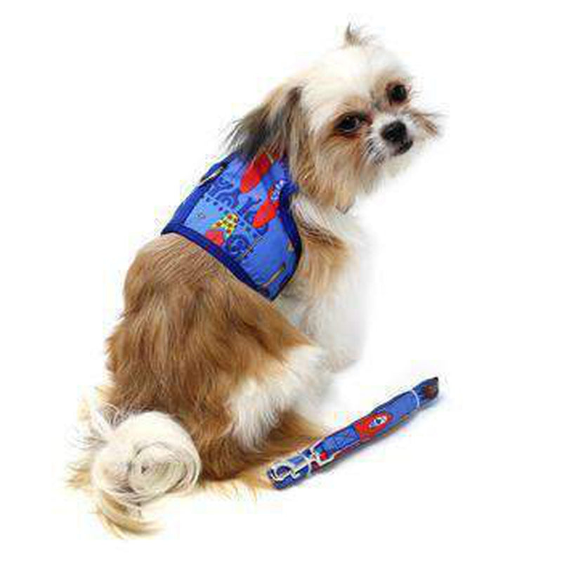Fabric Dog Harness with Leash - Ukuleles and Surfboards, Collars and Leads, Furbabeez, [tag]