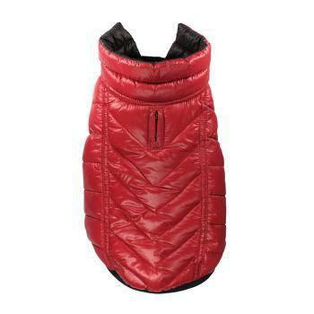 Reversible-Reflective Puffer Dog Vest - Black/Red, Pet Clothes, Furbabeez, [tag]