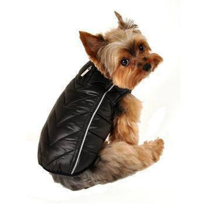 Reversible-Reflective Puffer Dog Vest - Black/Red Pet Clothes Hip Doggie
