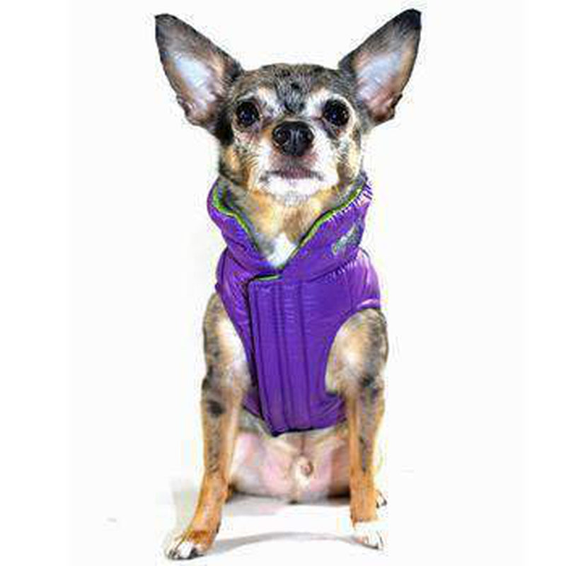 Reversible-Reflective Puffer Dog Vest - Green/Purple Pet Clothes Hip Doggie