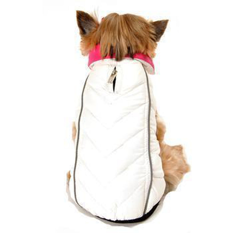Reversible-Reflective Puffer Dog Vest - Pink/White Pet Clothes Hip Doggie