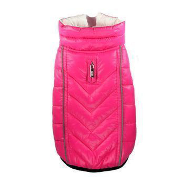 Reversible-Reflective Puffer Dog Vest - Pink/White Pet Clothes Hip Doggie X-Small