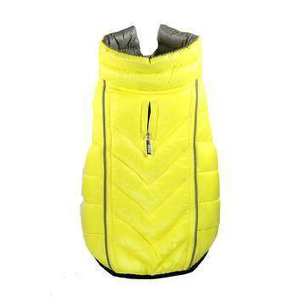 Reversible-Reflective Puffer Dog Vest - Yellow/Gray Pet Clothes Hip Doggie Medium