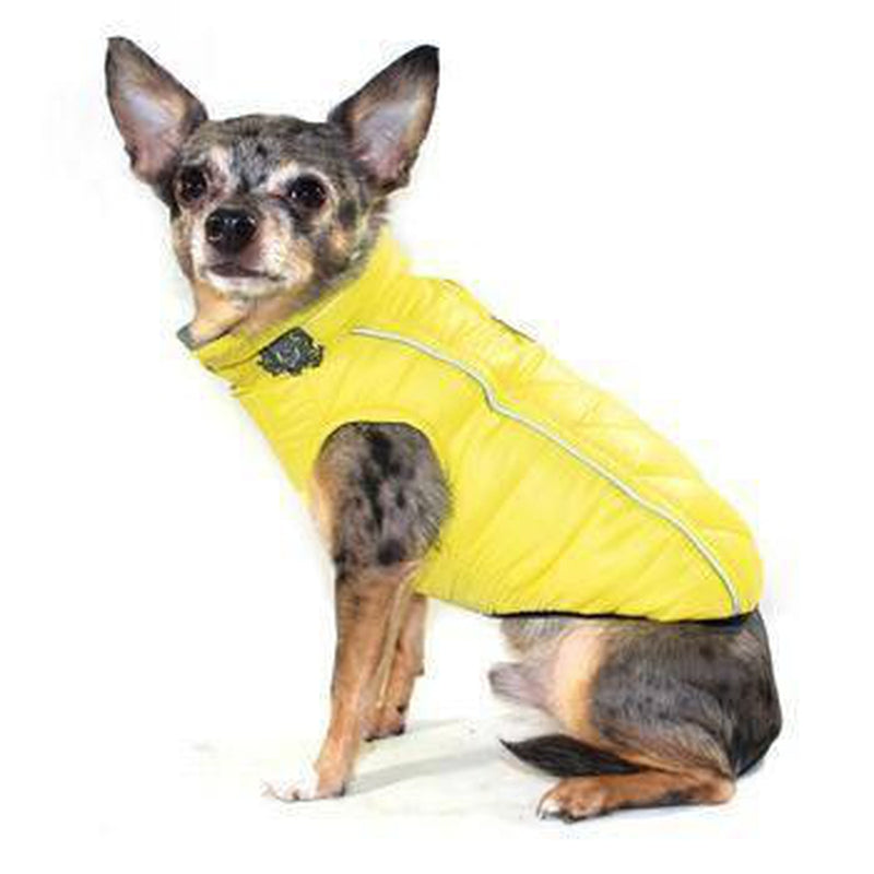 Reversible-Reflective Puffer Dog Vest - Yellow/Gray Pet Clothes Hip Doggie