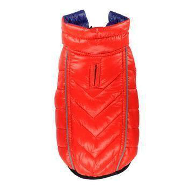 Reversible-Reflective Puffer Dog Vest - Blue/Orange Pet Clothes Hip Doggie Small