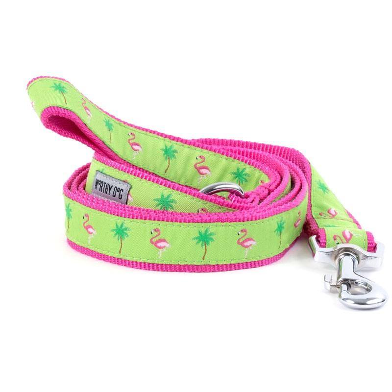 "Flamingos Collar & Lead Collection Collars and Leads Worthy Dog SM 5/8"" Lead"