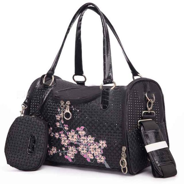 Floral Designer Dog Carrier Pet Accessories Oberlo Black